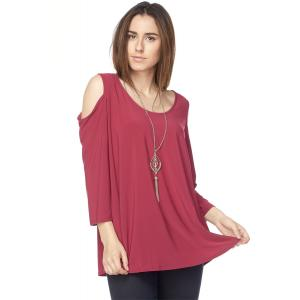 Tunics - 3/4 Sleeve Cold Shoulder & Necklace 1637I Wine - S