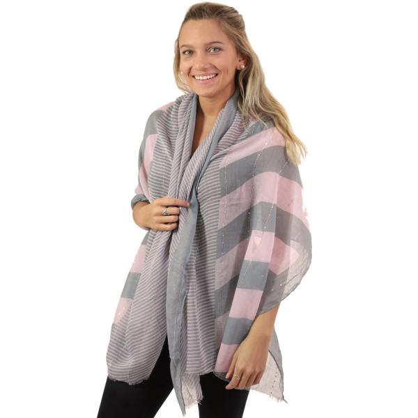 wholesale Oblong Scarves - Multi Stripe w/ Sequins 8441 Pink-Grey -