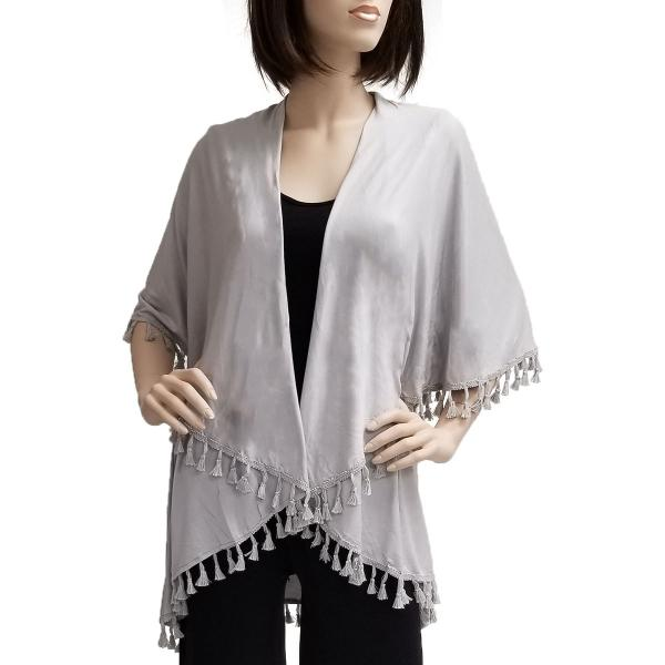 wholesale Vests - Solid w/ Tassels 511 Silver -