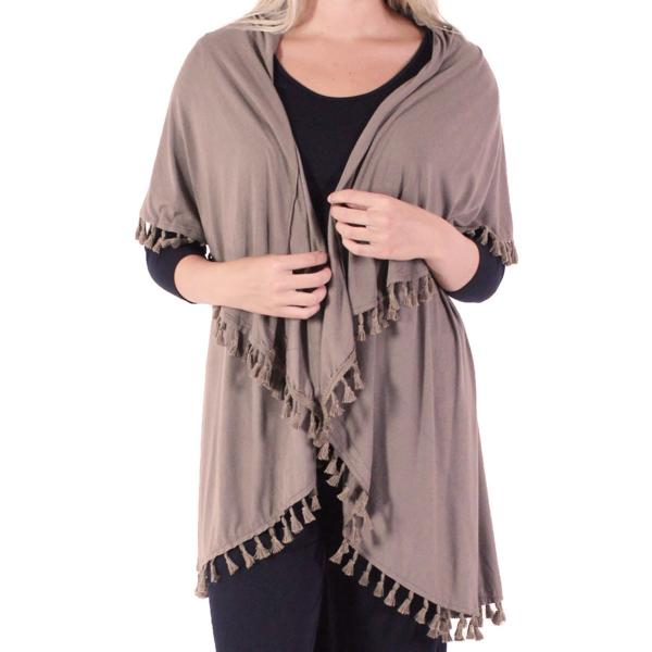 wholesale Vests - Solid w/ Tassels 511 Taupe* -