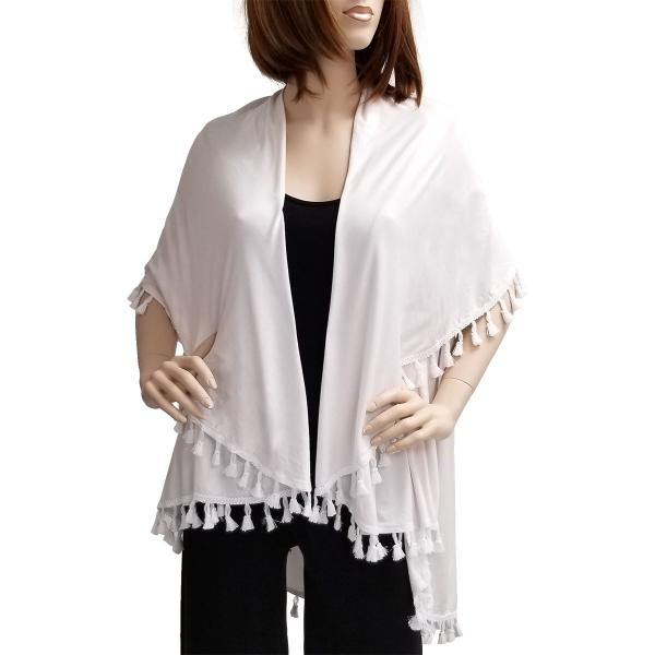wholesale Vests - Solid w/ Tassels 511 White -
