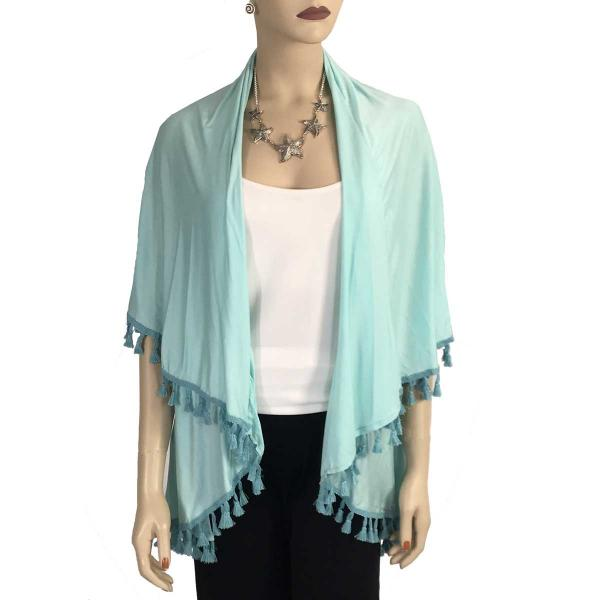 wholesale Vests - Solid w/ Tassels 511 Light Turquoise* -