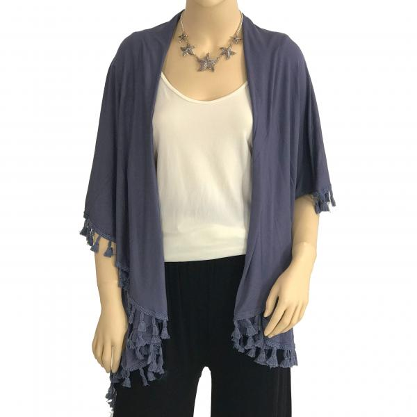 wholesale Vests - Solid w/ Tassels 511 Dusty Blue -