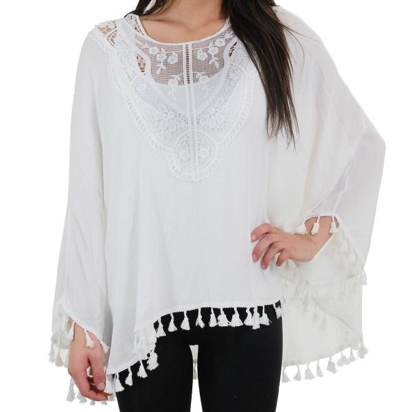 Poncho - Embroidered w/ Tassels 8031 White -