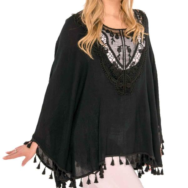 Poncho - Embroidered w/ Tassels 8031 Black -