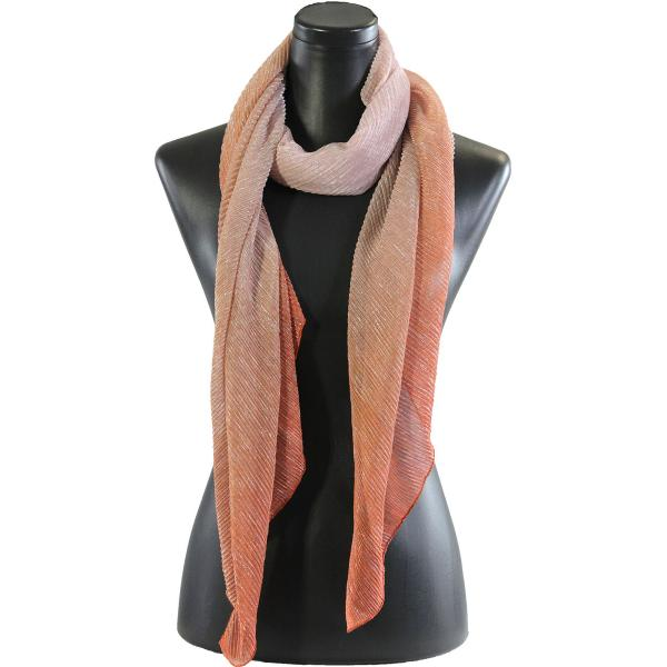 wholesale Oblong Scarves - Metallic Ombre Pleated 8092 Orange -