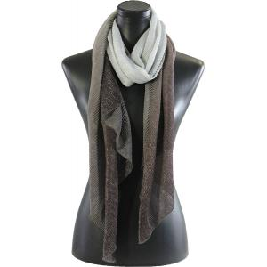 wholesale Oblong Scarves - Metallic Ombre Pleated 8092 Tan -