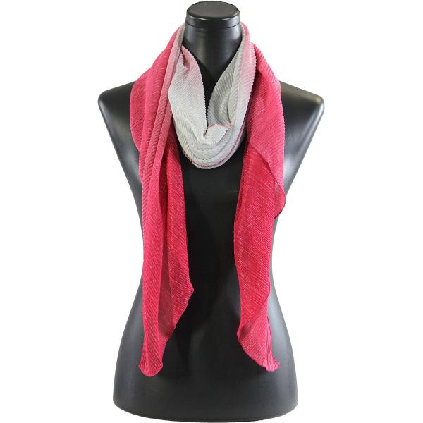 wholesale Oblong Scarves - Metallic Ombre Pleated 8092 Fuchsia -