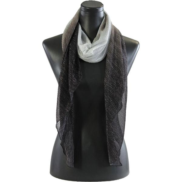 wholesale Oblong Scarves - Metallic Ombre Pleated 8092 Black -