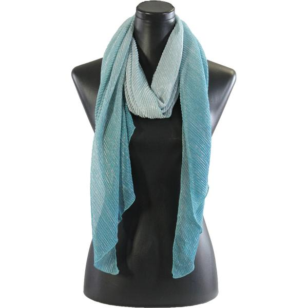 wholesale Oblong Scarves - Metallic Ombre Pleated 8092 Turquoise -