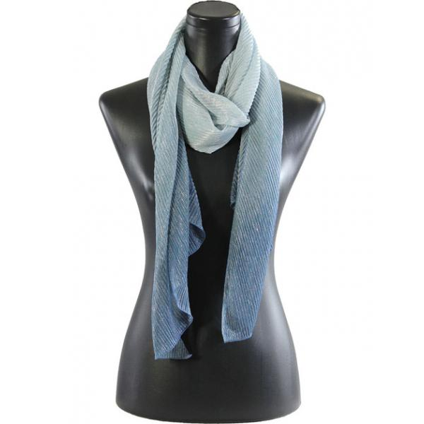 wholesale Oblong Scarves - Metallic Ombre Pleated 8092 Blue -