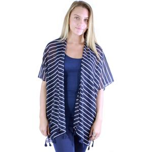 wholesale Kimono - Striped 1230 Navy-White -