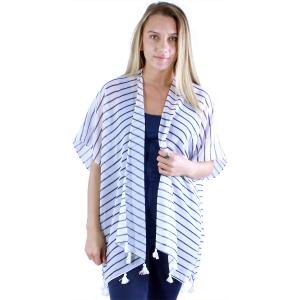 wholesale Kimono - Striped 1230 White-Navy -