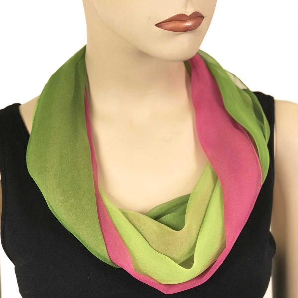 Silky Dress Scarves with Magnetic Clasp #106 Magenta-Mauve-Lime (Tri-Color) (Silver Magnet) -