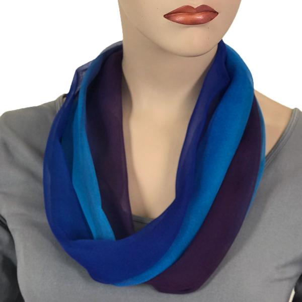Silky Dress Scarves with Magnetic Clasp #106 Royal-Turquoise-Purple (Tri-Color) (Silver Magnet) -