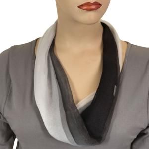 Silky Dress Scarves with Magnetic Clasp #106 Black-Grey-White (Tri-Color) (Silver Magnet) -