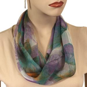 Silky Dress Scarves with Magnetic Clasp #129 Teal (Leaves) (Silver Magnet)* -