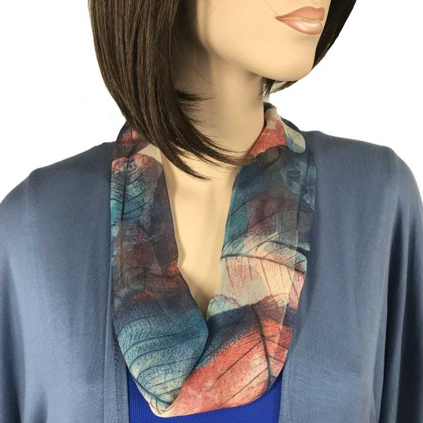 Silky Dress Scarves with Magnetic Clasp #129 Blue (Leaves) (Silver Magnet) -