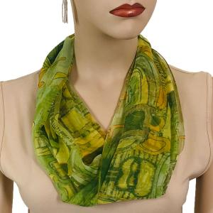 Silky Dress Scarves with Magnetic Clasp #111 Green (Abstract) (Silver Magnet) -