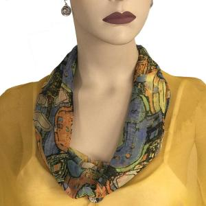 Silky Dress Scarves with Magnetic Clasp #111 Orange (Abstract) -
