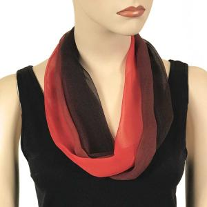 Silky Dress Scarves with Magnetic Clasp #106 Black-Maroon-Red (Tri-Color) (Silver Magnet) -