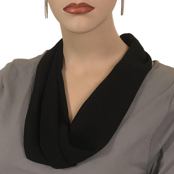 Silky Dress Scarves with Magnetic Clasp Solid Black (Silver Magnet) -