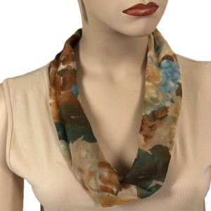 Silky Dress Scarves with Magnetic Clasp #703 Brown (Flower) (Bronze Magnet) -