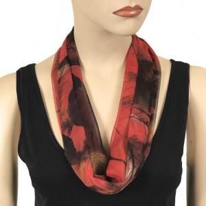 Silky Dress Scarves with Magnetic Clasp #129 Red (Leaves) (Bronze Magnet) -