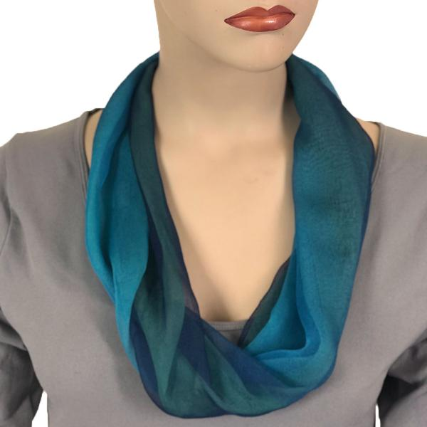 Silky Dress Scarves with Magnetic Clasp #106 Navy-Blue-Seafoam (Tri-Color) (Silver Magnet) -