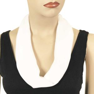 Silky Dress Scarves with Magnetic Clasp Solid White (Silver Magnet) -