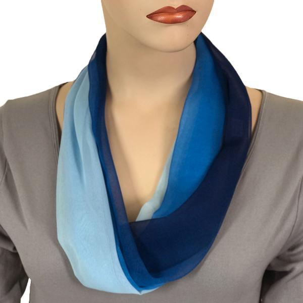 Silky Dress Scarves with Magnetic Clasp #106 Blues (Tri-Color) (Silver Magnet) -