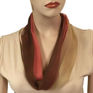 Silky Dress Scarves with Magnetic Clasp #106 Brown-Coral-Tan (Tri-Color) (Silver Magnet) (MB) -