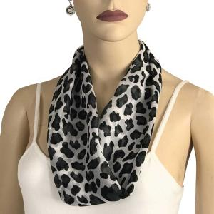 Silky Dress Scarves with Magnetic Clasp #104 Black-White (Cheetah) (Silver Magnet) -