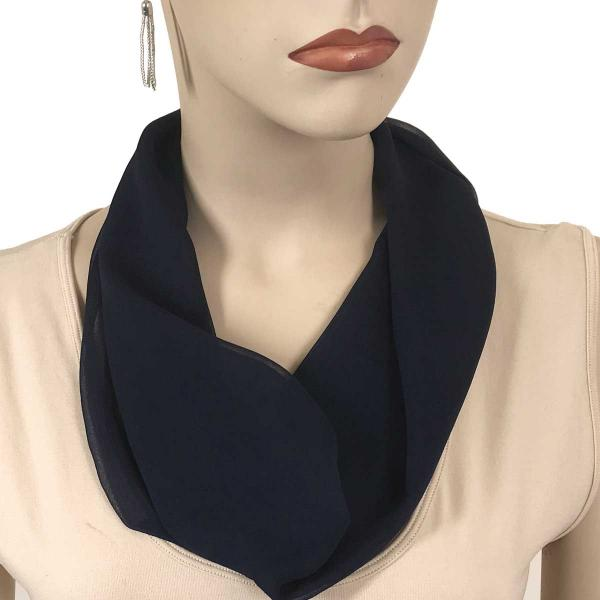 Silky Dress Scarves with Magnetic Clasp Solid Navy (Silver Magnet) -