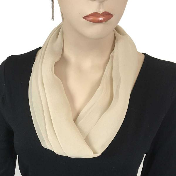 Silky Dress Scarves with Magnetic Clasp Solid Tan (Silver Magnet) -