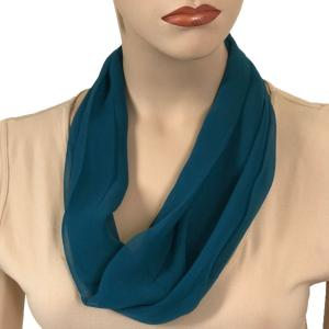 Silky Dress Scarves with Magnetic Clasp Solid Teal (Silver Magnet) -