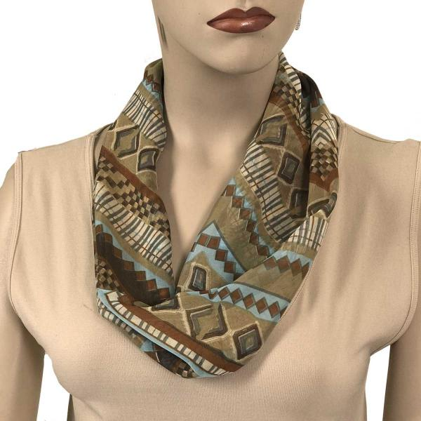 Silky Dress Scarves with Magnetic Clasp #102 Taupe (Zig Zag) (Silver Magnet)-A -