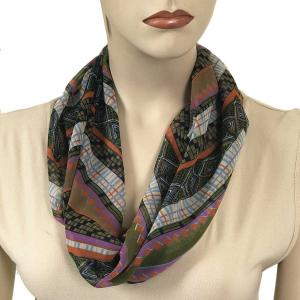 Silky Dress Scarves with Magnetic Clasp #102 Navy (Zig Zag) (Silver Magnet)-A -