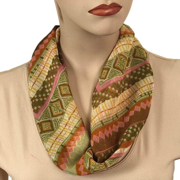 Silky Dress Scarves with Magnetic Clasp #102 Olive (Zig Zag) (Silver Magnet)-A -