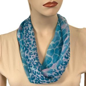 Silky Dress Scarves with Magnetic Clasp #713 Turquoise (Giraffe-Leopard) (Silver Magnet)-A -