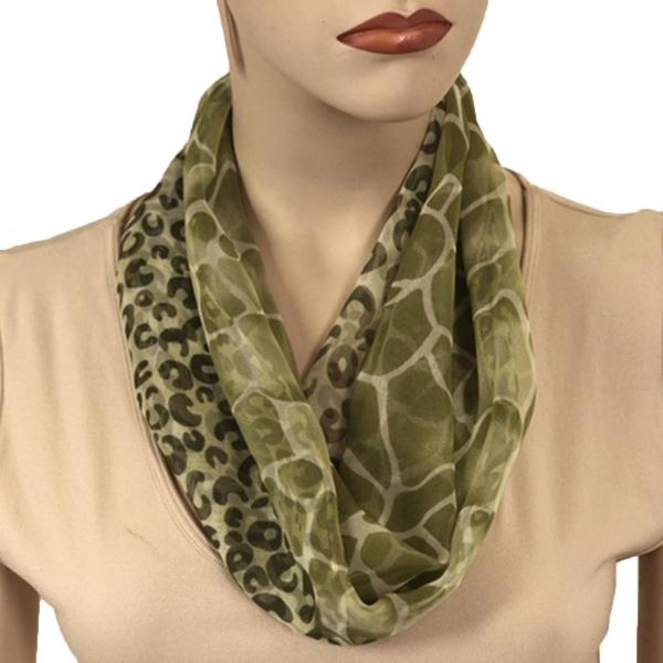 Silky Dress Scarves with Magnetic Clasp #713 Green (Giraffe-Leopard) (Silver Magnet)-A -