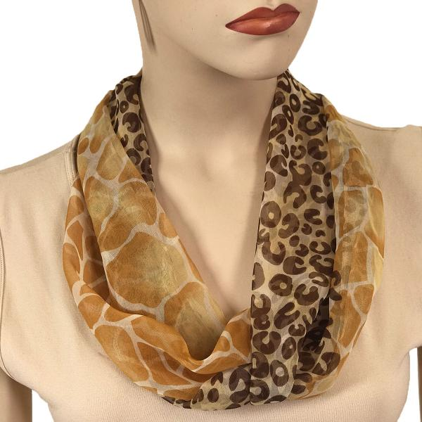 Silky Dress Scarves with Magnetic Clasp #713 Gold (Giraffe-Leopard) (Silver Magnet)-A -