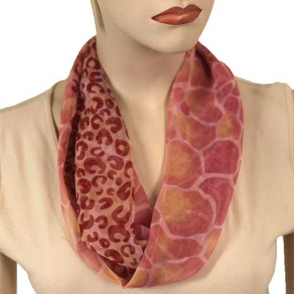 Silky Dress Scarves with Magnetic Clasp #713 Raspberry (Giraffe-Leopard) (Silver Magnet)-A -