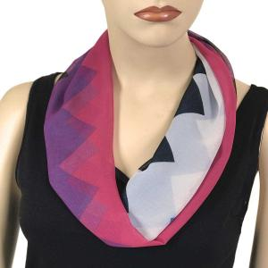 Silky Dress Scarves with Magnetic Clasp #718 Purple-Fuchsia (Zig Zag 2) (Silver Magnet)-A -