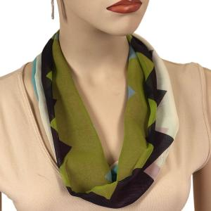 Silky Dress Scarves with Magnetic Clasp #718 Navy-Green (Zig Zag 2) (Silver Magnet)-A -