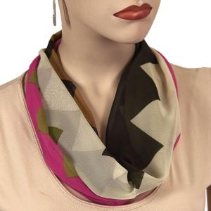 Silky Dress Scarves with Magnetic Clasp #718 Pink-Ivory (Zig Zag 2) (Silver Magnet)-A -