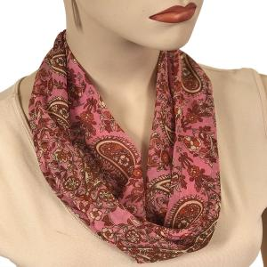 Silky Dress Scarves with Magnetic Clasp #105 Pink (Paisley) (Silver Magnet)-A -