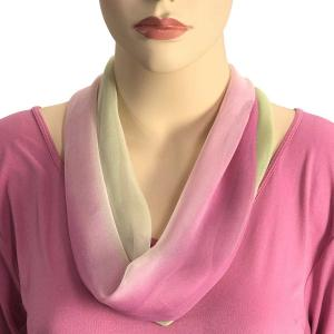 Silky Dress Scarves with Magnetic Clasp #106 Magenta-Ivory-Sage (Tri-Color) (Silver Magnet) -