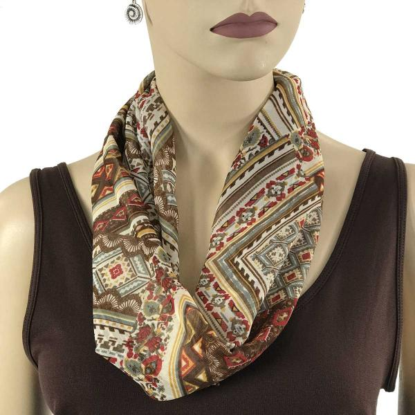 Silky Dress Scarves with Magnetic Clasp #032 Beige-Brown-Burgundy (Abstract) (Bronze Magnet) (MB) -