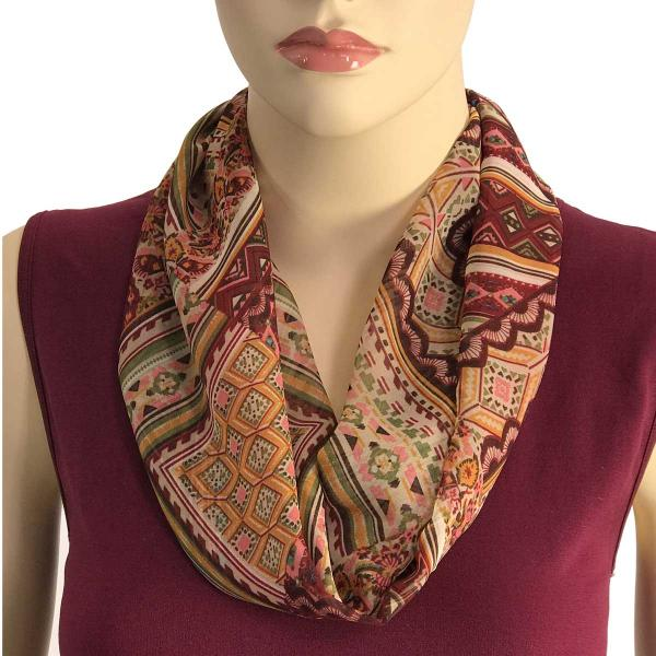 Silky Dress Scarves with Magnetic Clasp #032 Dark Red-Gold-Olive (Abstract) (Bronze Magnet) (MB) -